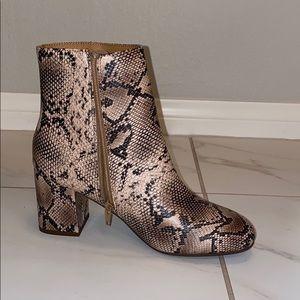 D. faux snake skin booties